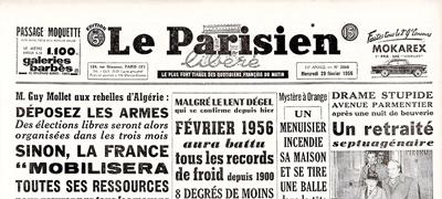 La une du Parisien libéré d5 29 février 1956