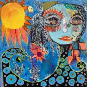 Peinture La belle bleue de Carole Jeulin